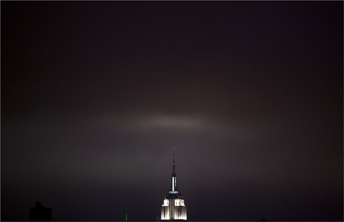 The Empire State Building is seen before turing lights turned off, in participation with Earth Hour,