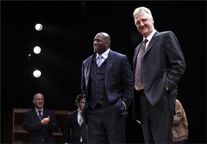 "Earvin ""Magic"" Johnson and Larry Bird appears at the curtain call for the opening night performance of the Broadway play Magic Bird"