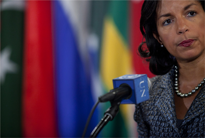 U.S. Ambassador to the United Nations Susan Rice speaks to the media about issues in Syria, North Korea and Guinea Bissau after Security Council consultations at the United Nations