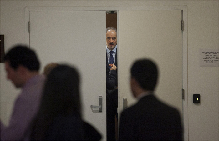 Bashar Ja'afari, Syria's ambassador to the United Nations, is seen after Security Council consultations at the United Nations