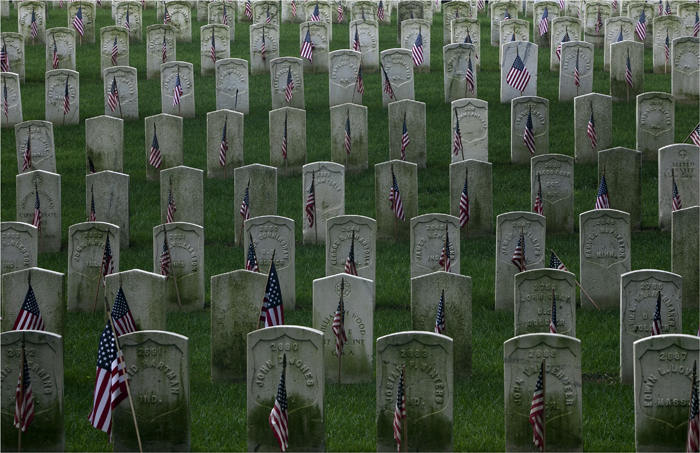 Gravestones are seen at the Cyprus Hills National Cemetery in New York