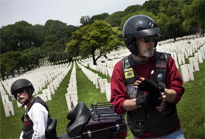 "Members of the ""Patriot Guard Riders"" visit Cyprus Hills National Cemetery"