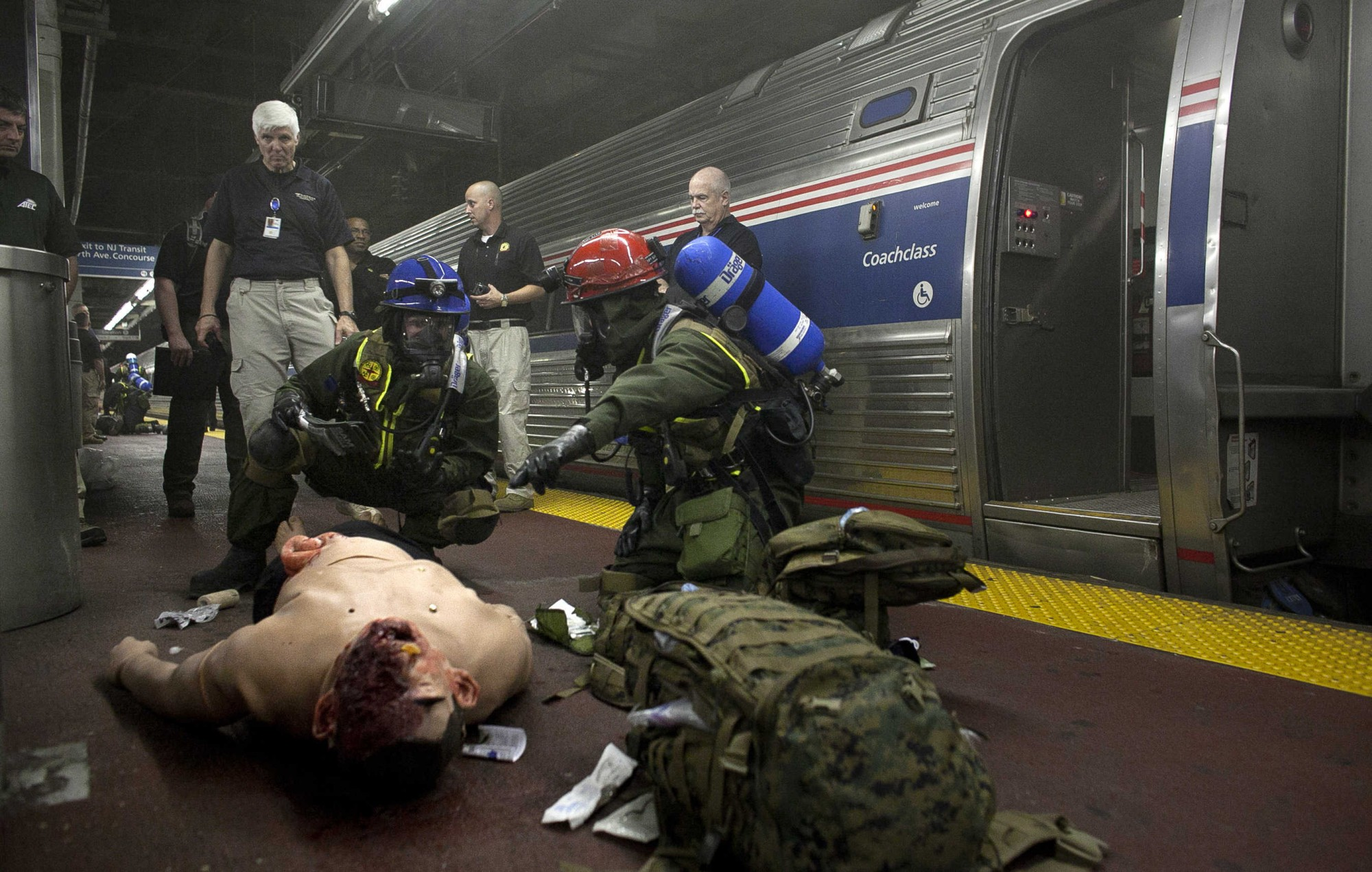 US Marines And New York Fire Fighters Take Part In Chemical Incident Drill In Penn Station
