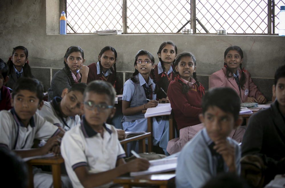 Girls study in class January 20, 2016 in Jodhpur, India.